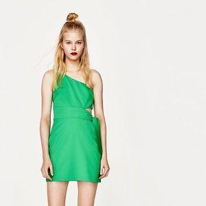NWT Zara Green One Shoulder Side Tie Mini Dress